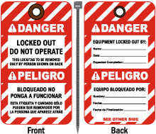 Bilingual Locked Out Do Not Operate Tag