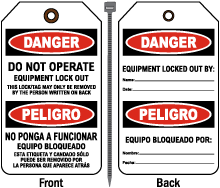 Bilingual Do Not Operate Equipment Lock Out Tag