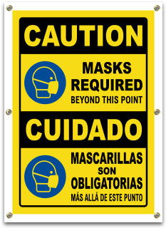 Bilingual Caution Masks Required Beyond This Point Banner