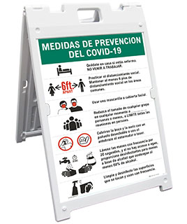 Bilingual COVID-19 Prevention Measures Sandwich Board Sign