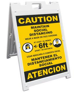 Bilingual Caution Maintain Social Distancing Sandwich Board Sign