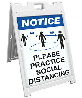 Notice Please Practice Social Distance Sandwich Board Sign