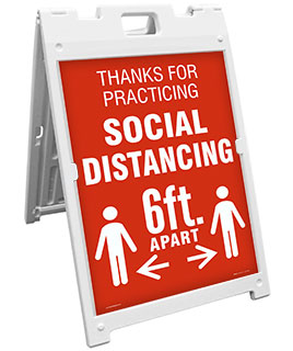 Thanks For Practicing Social Distance Sandwich Board Sign