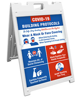 COVID-19 Building Protocols Sandwich Board Sign