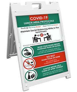Bilingual COVID-19 Lunch Area Protocols Sandwich Board Sign