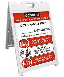COVID-19 Max. Occupancy Protocols Sandwich Board Sign