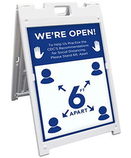 We're Open 6 ft Apart Sandwich Board Sign
