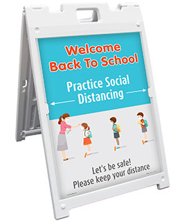 Back to School Social Distancing Sandwich Board Sign