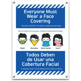 Bilingual Everyone Must Wear a Face Covering Banner