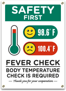 Safety First Fever and Temperature Check Required Banner
