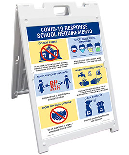 Covid-19 Response School Requirements Sandwich Board Sign