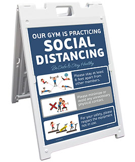 Gym Social Distancing Sandwich Board Sign