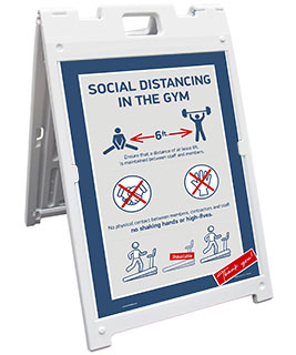 Social Distancing In The Gym Sandwich Board Sign