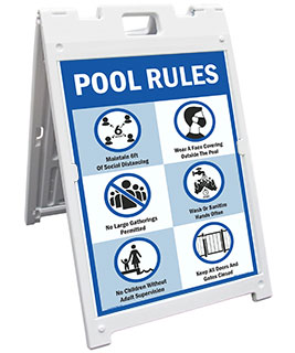 Social Distancing Pool Rules Sandwich Board Sign