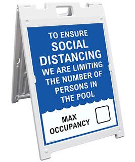 Social Distancing Pool Capacity Sandwich Board Sign