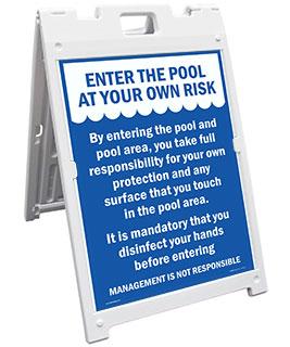 Entering Pool Risk Sandwich Board Sign
