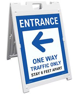 Entrance One Way Traffic Only Left Arrow Sandwich Board Sign