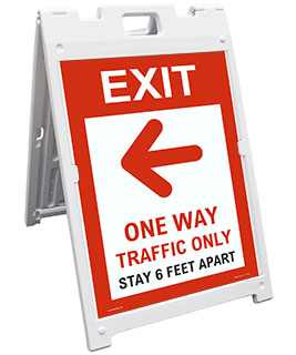 Exit One Way Traffic Only Left Arrow Sandwich Board Sign