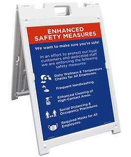 Enhanced Safety Measures Sandwich Board Sign