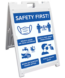 Safety First! Wear A Mask and Stay 6Ft Apart Sandwich Board Sign