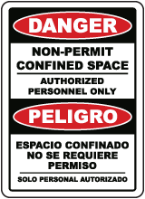 Bilingual Danger Non-Permit Confined Space Sign