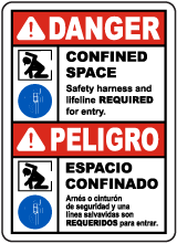 Bilingual Safety Harness and Lifeline Required Sign
