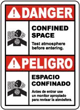 Bilingual Danger Test Atmosphere Before Entering Sign