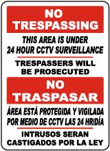 Bilingual Area Under 24 Hour CCTV Surveillance Sign