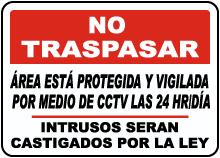 Spanish Area Under 24 Hour CCTV Surveillance Sign