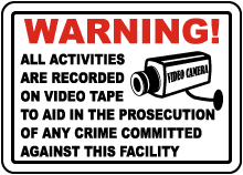 Activities Recorded on Video Sticker