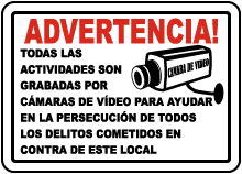 Spanish Activities Recorded on Video Tape Sign