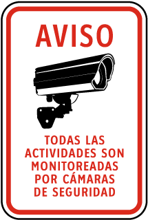 Spanish Activities Monitored By Camera Sign