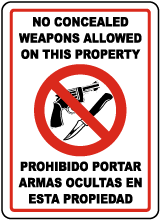 Bilingual No Concealed Weapons Allowed Sign