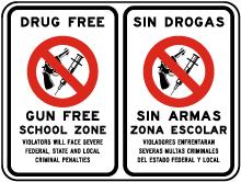 Bilingual Drug Free Gun Free School Zone Sign