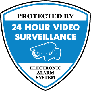 Protected by 24 Hr Video Surveillance Yard Sticker