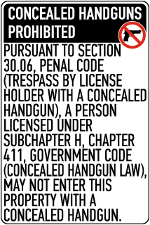 Texas 30.06 No Concealed Carry Sign