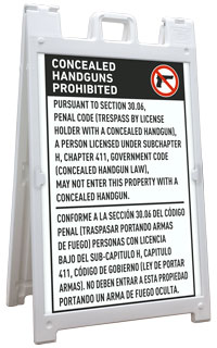 Bilingual Texas 30.06 No Concealed Carry Sandwich Board Sign