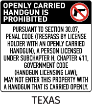 Texas 30.07 No Open Carry Floor Sign