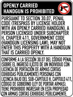 Bilingual Texas 30.07 No Open Carry Sign