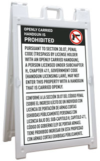 Bilingual Texas 30.07 No Open Carry Sandwich Board Sign