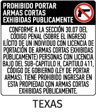 Spanish Texas 30.07 No Open Carry Floor Sign