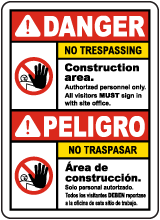 Bilingual Danger Construction Area No Trespassing Sign