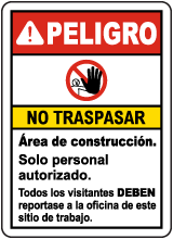 Spanish Danger Construction Area No Trespassing Sign
