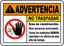 Spanish Warning Construction Area No Trespassing Sign