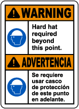 Bilingual Warning Hard Hat Required Beyond This Sign