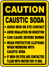 Caution Caustic Soda Handling Rules Sign