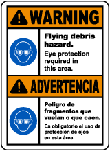 Bilingual Warning Flying Debris Hazard Eye Protection Sign