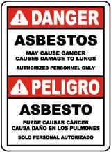 Bilingual 2016 OSHA Compliant Asbestos Sign