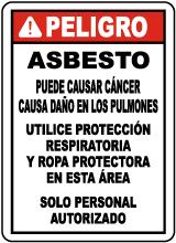 Spanish 2016 OSHA Compliant Asbestos Sign