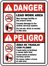 Bilingual OSHA Lead Work Area Sign